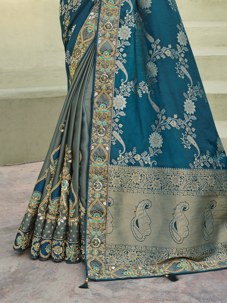 Blue Banarasi Silk with Dola Silk Embroidered Festival Saree