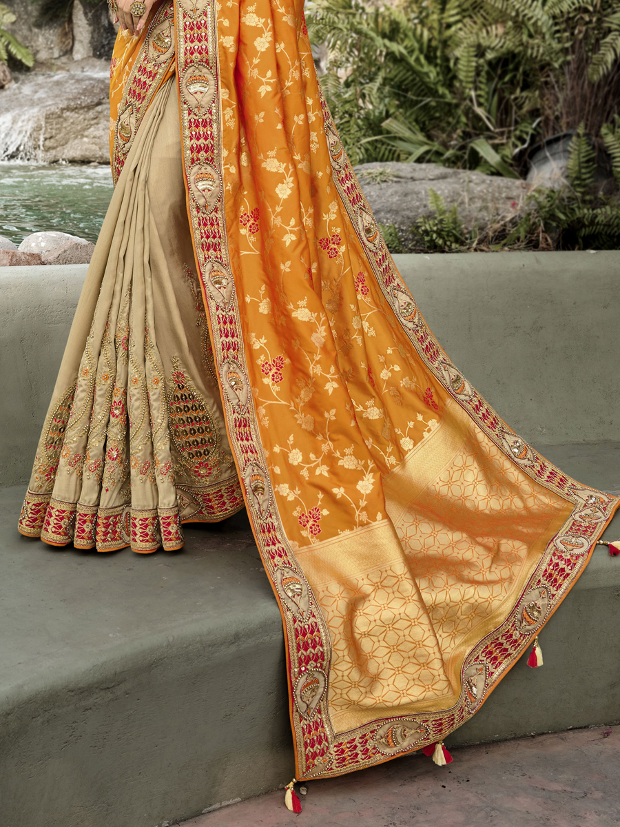 Orange Banarasi Silk with Dola Silk Embroidered Festival Saree