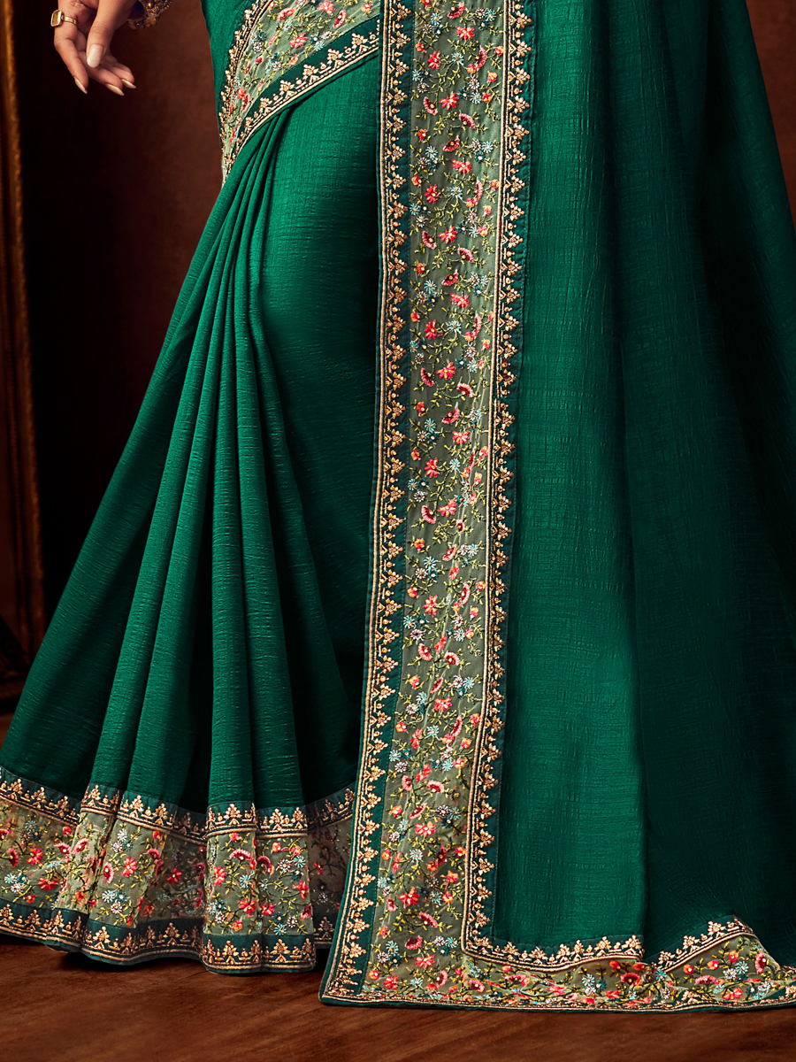 Green Vichitra Silk Embroidered Festival Saree