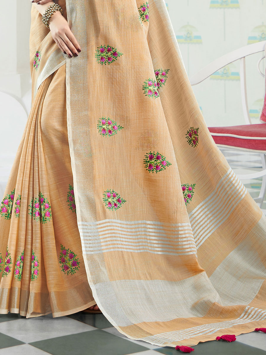 Light Orange Linen Cotton Embroidered Party Saree