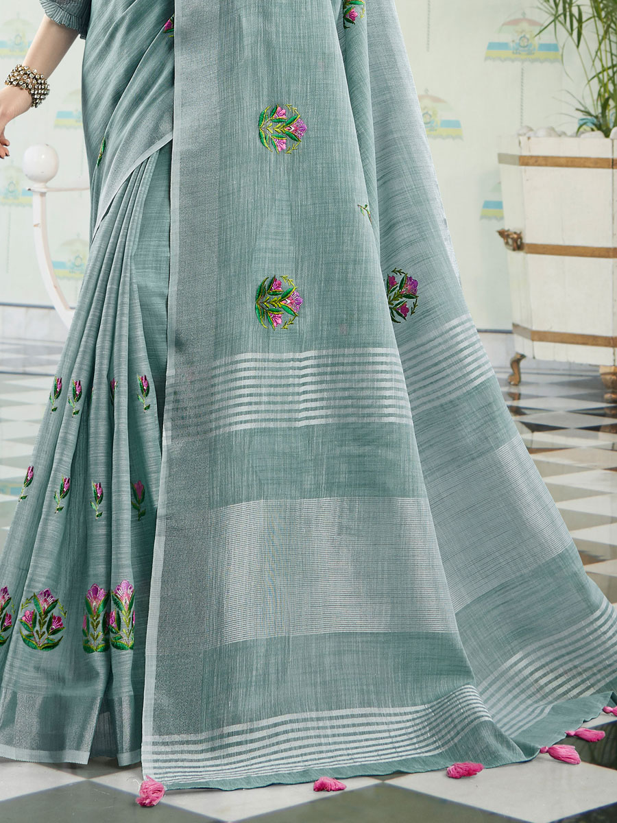 Light Green Linen Cotton Embroidered Party Saree