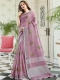 Light Thulian Pink Linen Cotton Embroidered Party Saree