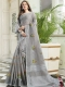 Slate Gray Linen Cotton Embroidered Party Saree