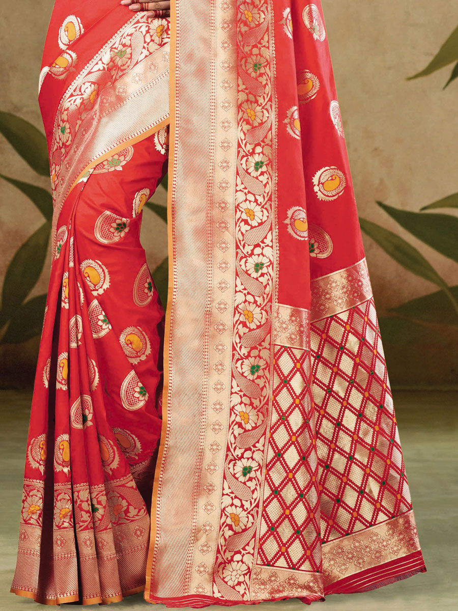 Vermilion Red Satin Silk Handwoven Festival Saree