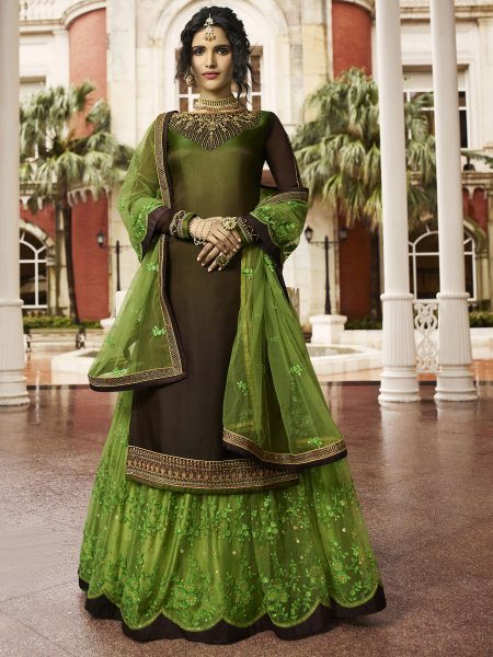 Army Green and Light Green Satin Georgette Embroidered Party Lehenga with Suit