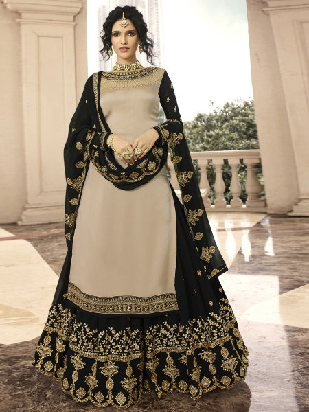 Khaki Brown and Black Satin Georgette Embroidered PartyLehenga with Suit
