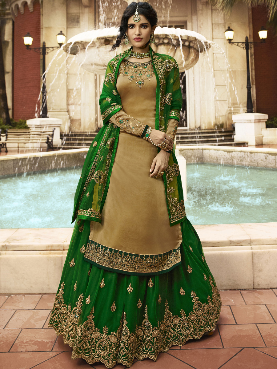 Metallic Gold Yellow and Green Satin Georgette Embroidered Party Lehenga with Suit