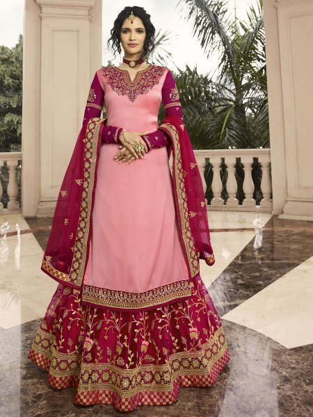 Salmon Pink and Rani Pink Satin Georgette Embroidered Party Lehenga with Suit