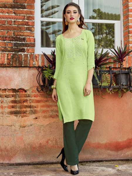 Light Green Rayon Embroidered Party Kurti