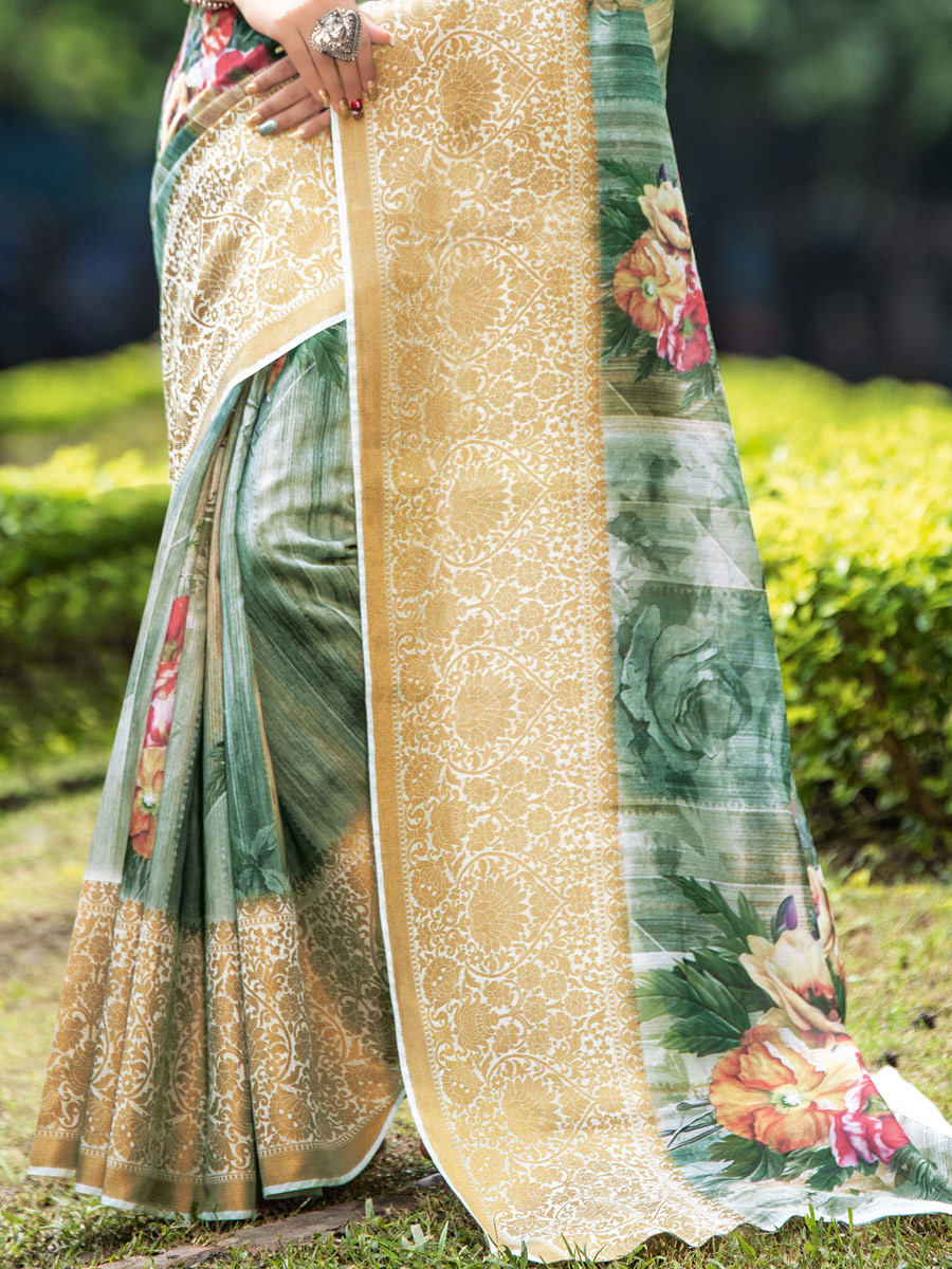 Light Viridian Green Organza Printed Party Saree