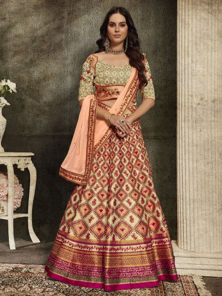 Cream Yellow and Light Coral Orange Silk Embroidered Party Lehenga Choli