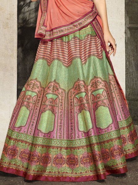 Light Green and Coral Pink Silk Embroidered Party Lehenga Choli