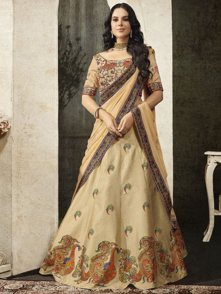 Beige Yellow Silk Embroidered Party Lehenga Choli