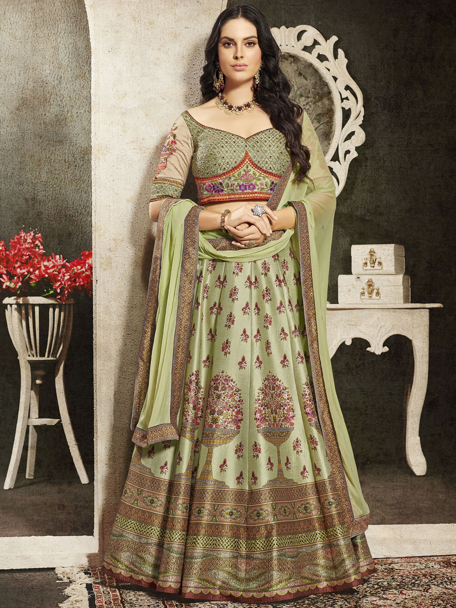Moss Green Silk Embroidered Party Lehenga Choli