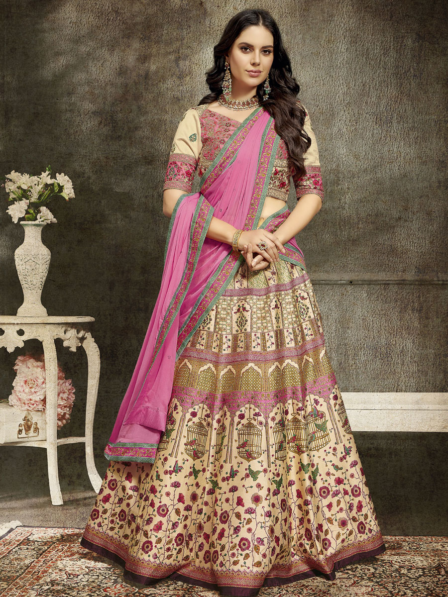 Cream Yellow Silk Embroidered Party Lehenga Choli