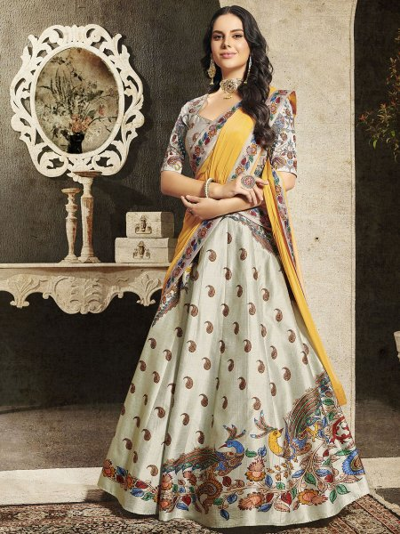 Light Gray Silk Embroidered Party Lehenga Choli