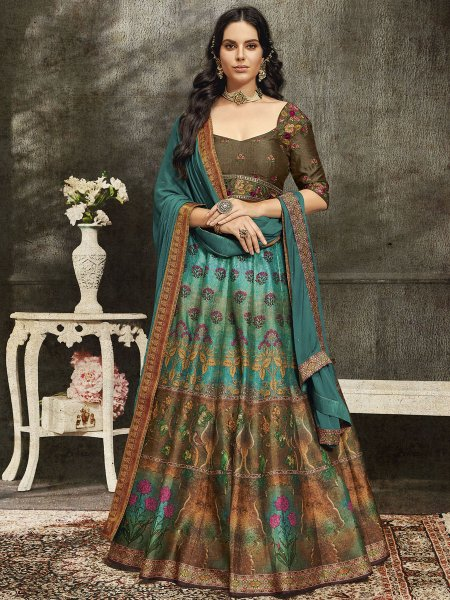 Persian Green and Raw Umber Brown Silk Embroidered Party Lehenga Choli