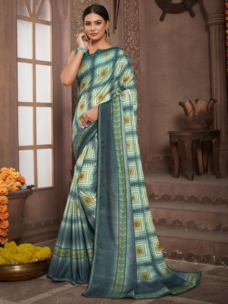 Gray and Cream Yellow Tussar Silk Printed Party Saree