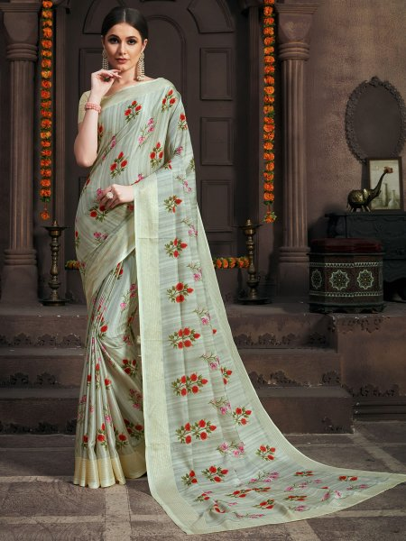 Tea Green Silk Printed Party Saree
