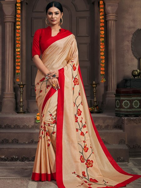 Apricot Orange Silk Printed Party Saree