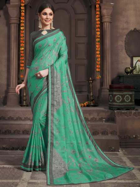 Sea Green Silk Printed Party Saree