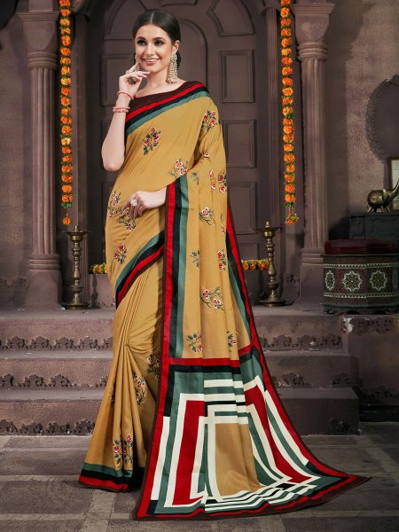 Wheat Brown Silk Embroidered Party Saree