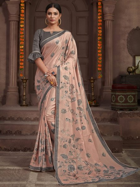 Light Pink Silk Printed Party Saree