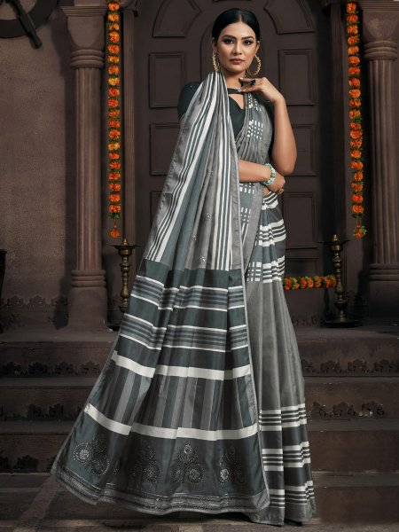 Gray Silk Printed Party Saree