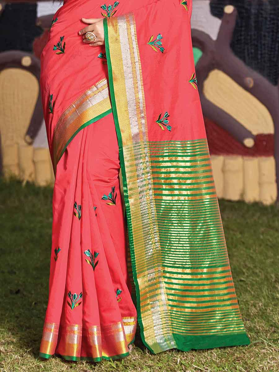 Brink Pink Cotton Handwoven Festival Saree