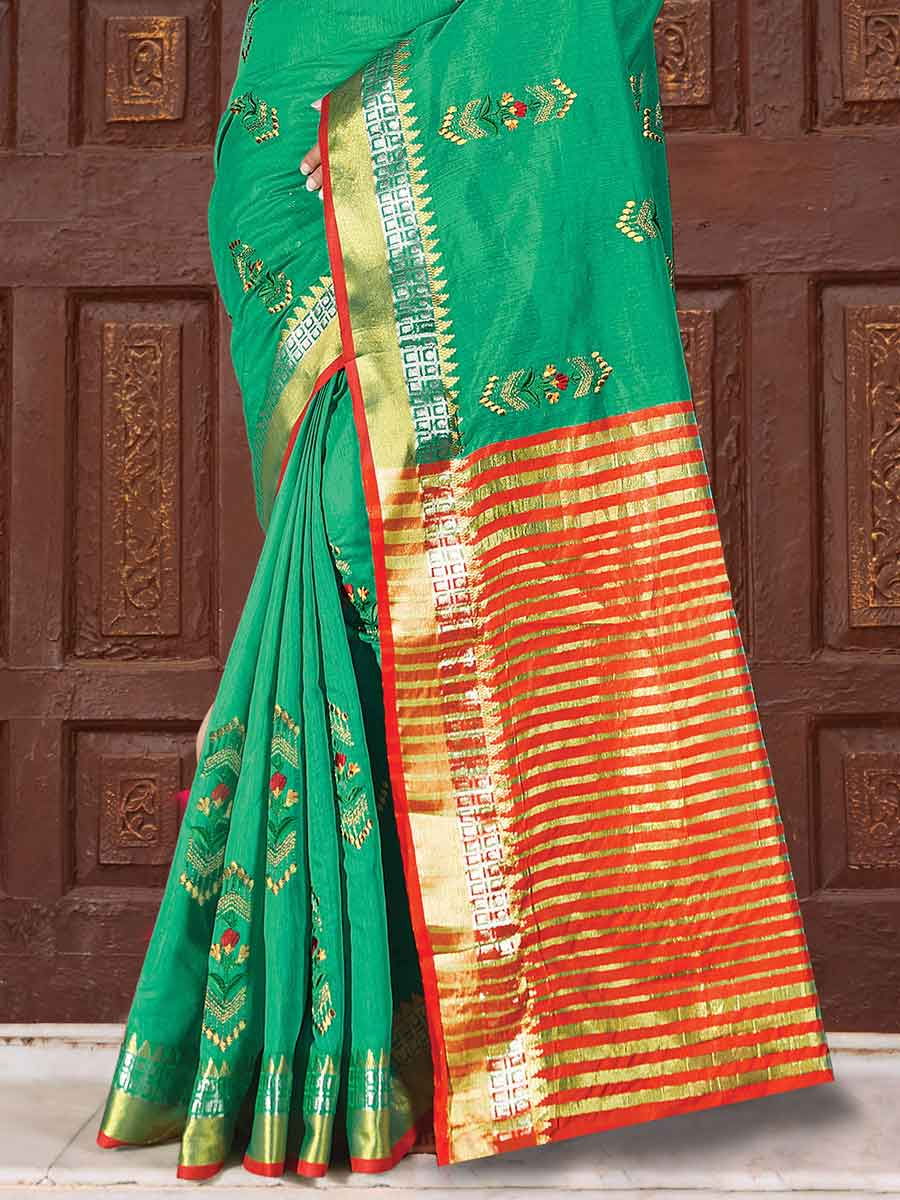 Sea Green Cotton Handwoven Festival Saree