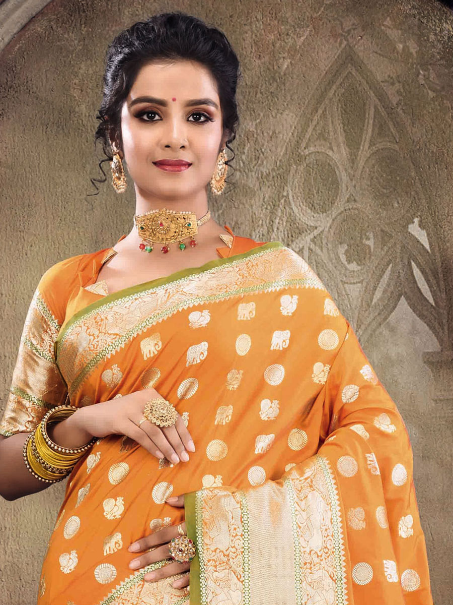 Orange Peel Silk Handwoven Festival Saree