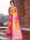 Cerise Pink and Orange Art Silk Handwoven Festival Saree