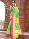 Yellow-Green Art Silk Handwoven Festival Saree