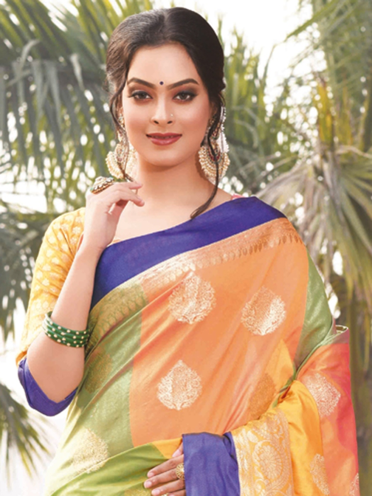 Asparagus Green and Orange Art Silk Handwoven Festival Saree