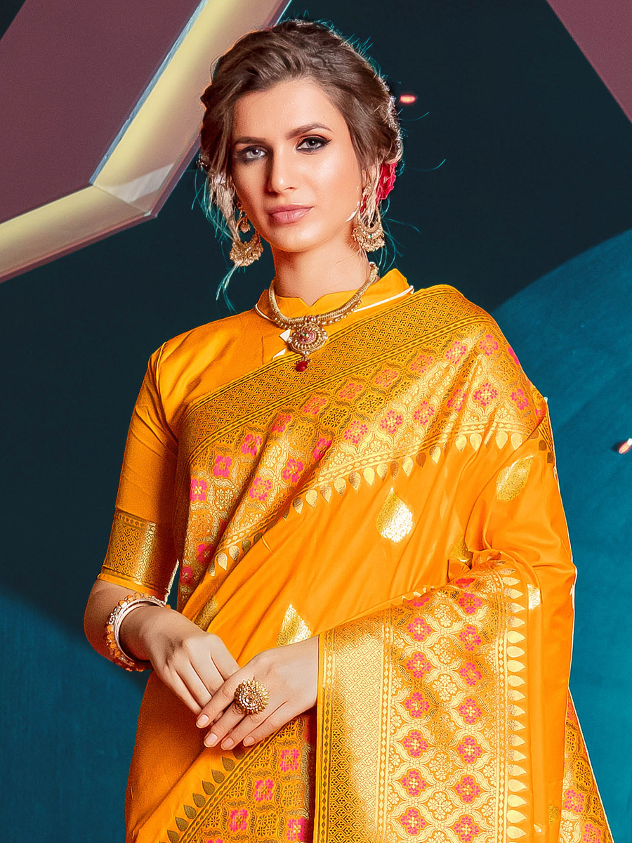 Amber Yellow Art Silk Handwoven Festival Saree