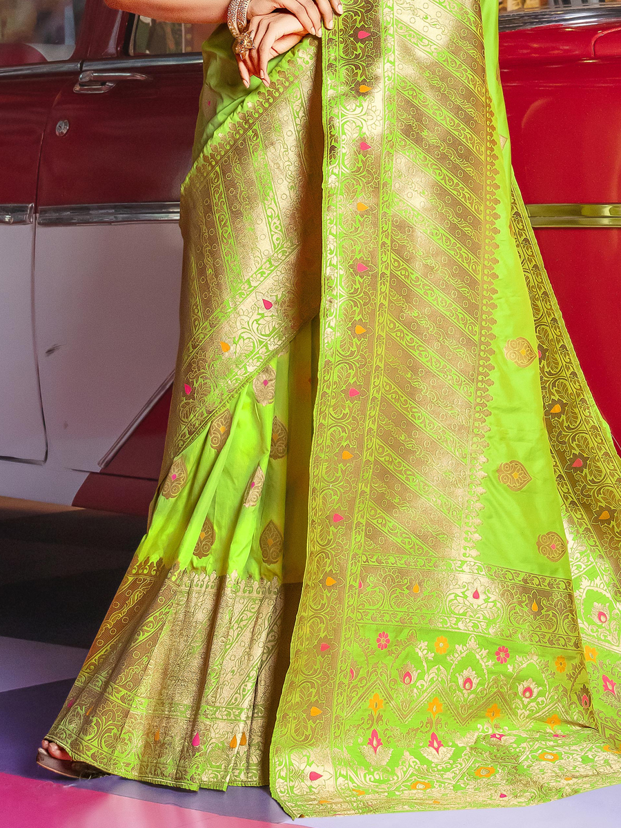 Green-Yellow Art Silk Handwoven Festival Saree