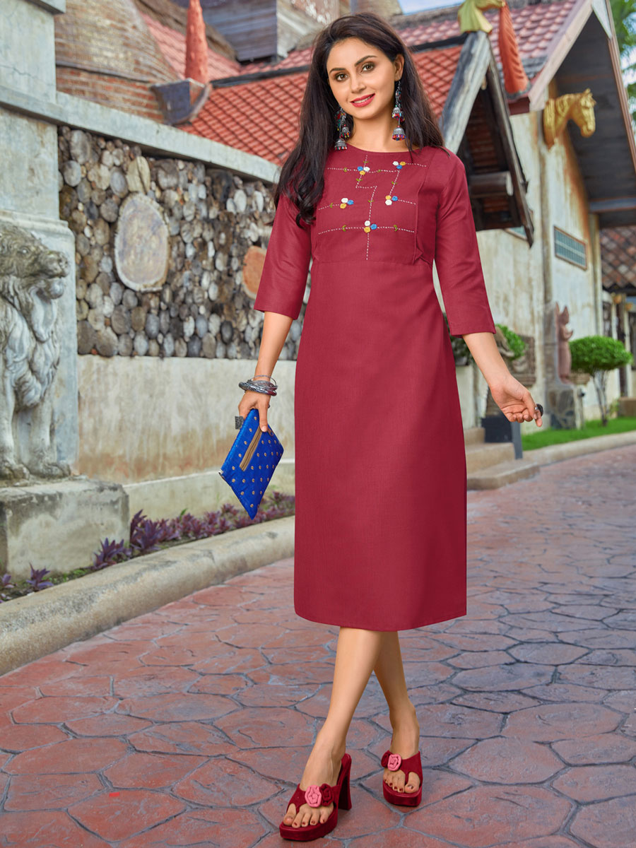 Carnelian Red Cotton Casual Embroidered Kurti
