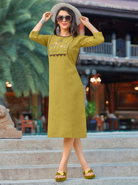 Olive Green Cotton Casual Embroidered Kurti
