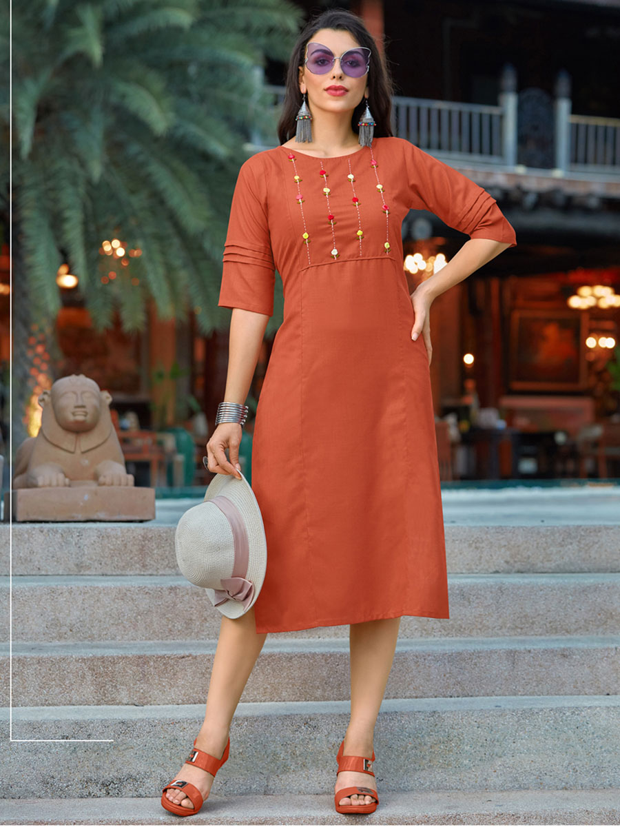 Salmon Orange Cotton Casual Embroidered Kurti