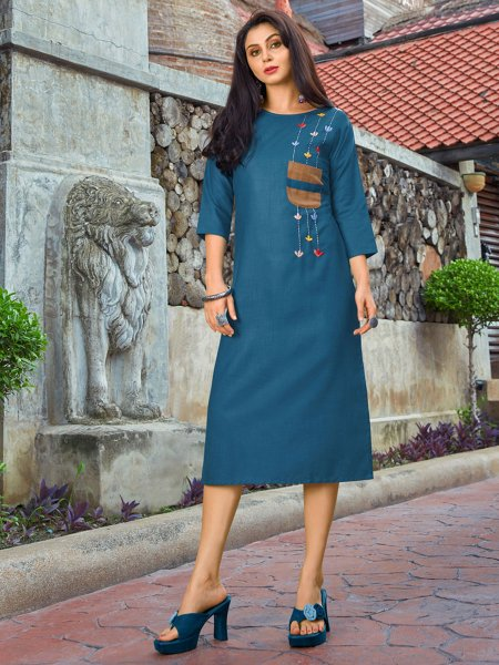 Midnight Blue Cotton Casual Embroidered Kurti