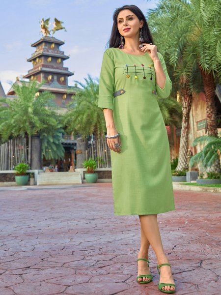 Yellow-Green Cotton Casual Embroidered Kurti