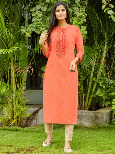 Light Coral Red Cotton Silk Embroidered Festival Kurti