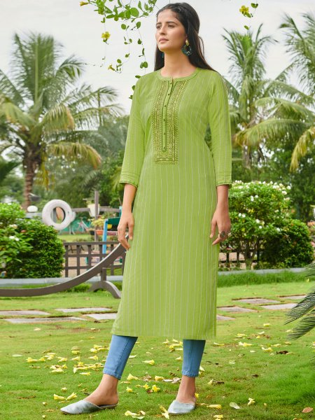 Light Green Cotton Silk Embroidered Festival Kurti