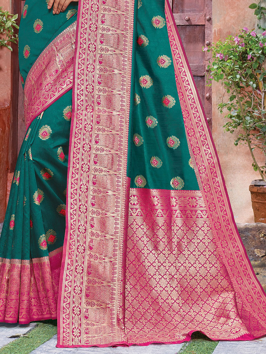 Teal Green Banarasi Silk Handwoven Festival Saree