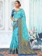 Deep Sky Blue Art Silk Handwoven Festival Saree