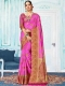Hot Magenta Pink Art Silk Handwoven Festival Saree