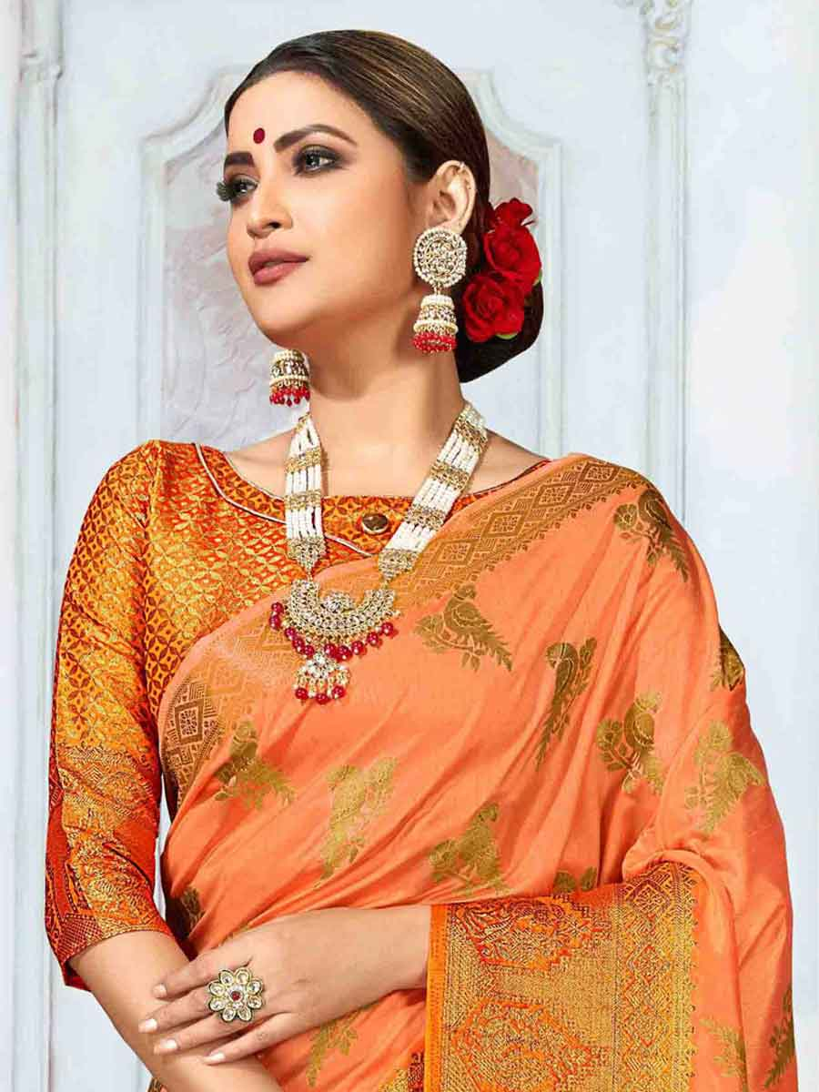 Pink-Orange Art Silk Handwoven Festival Saree