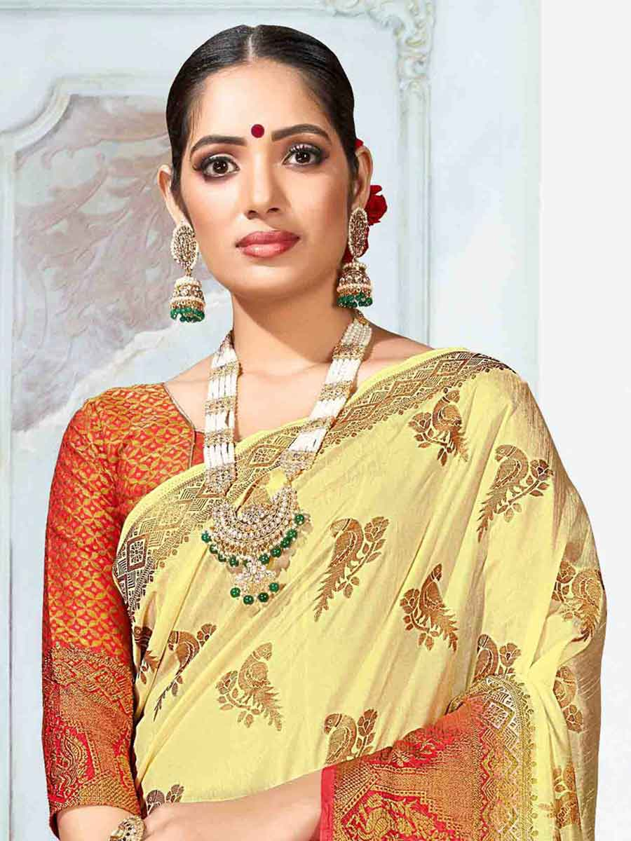 Light Yellow Art Silk Handwoven Festival Saree