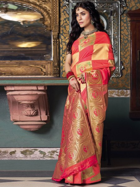 Amaranth Red and Beige Yellow Silk Handwoven Festival Saree