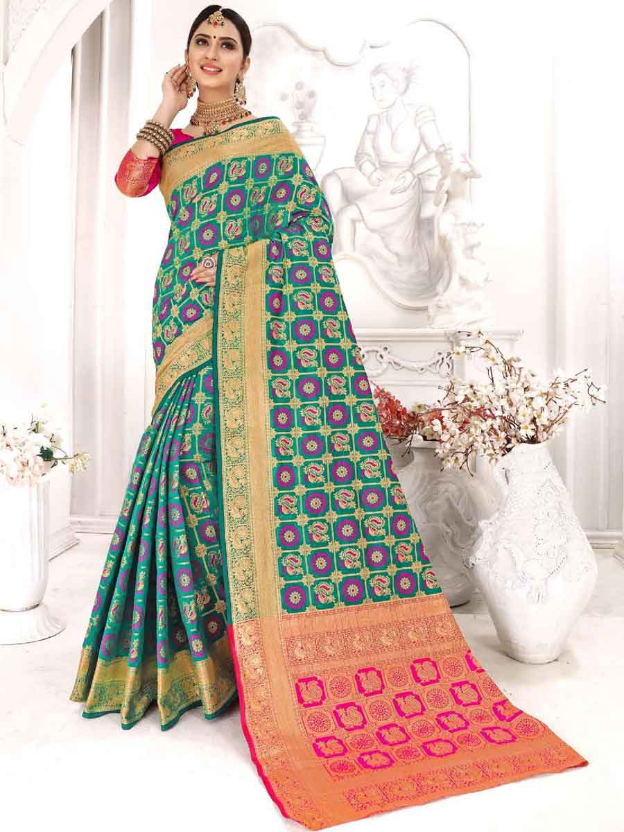 Teal Green Silk Handwoven Festival Saree